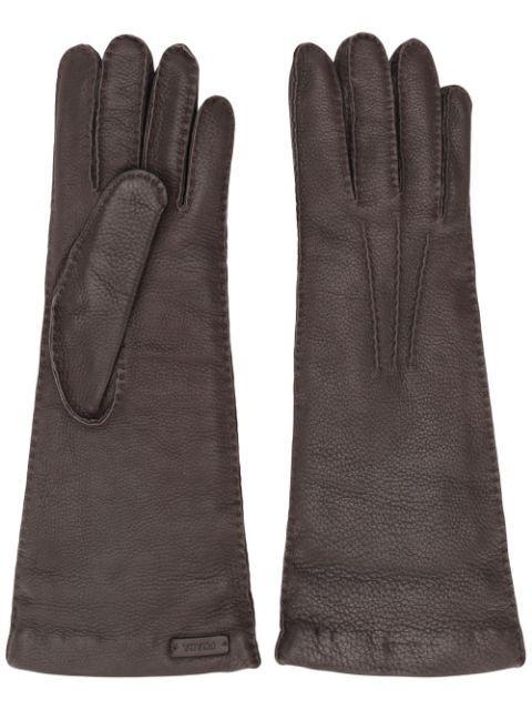 Prada Tonal Stitching Leather Gloves In Bianco+nero