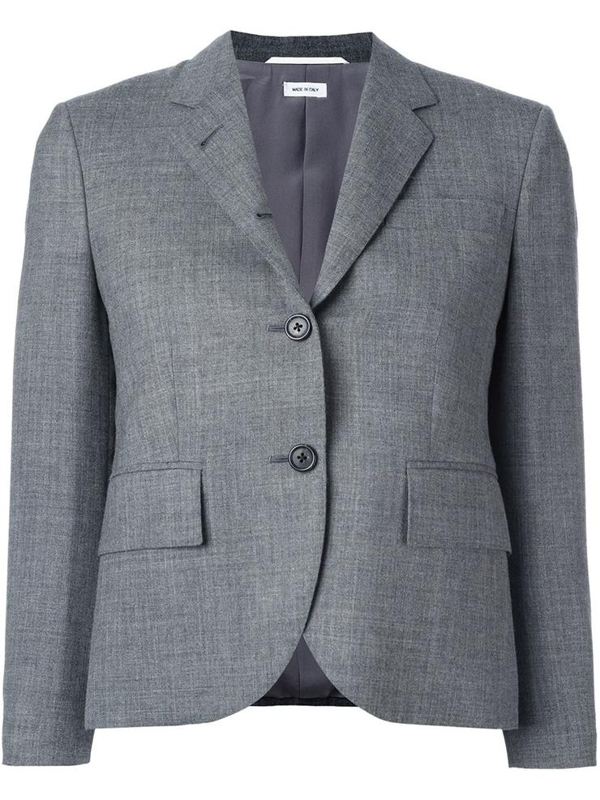 Thom Brown Classic Single Breasted Sport Coat In Medium Grey 2-ply Wool In Med Grey