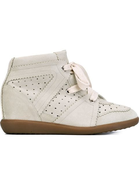 Isabel Marant Women's Shoes High Top Suede Trainers Sneakers Bobby In Chalk