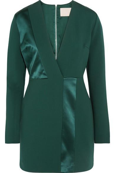 Dion Lee Silk Satin-Paneled Jersey Mini Dress In Emerald