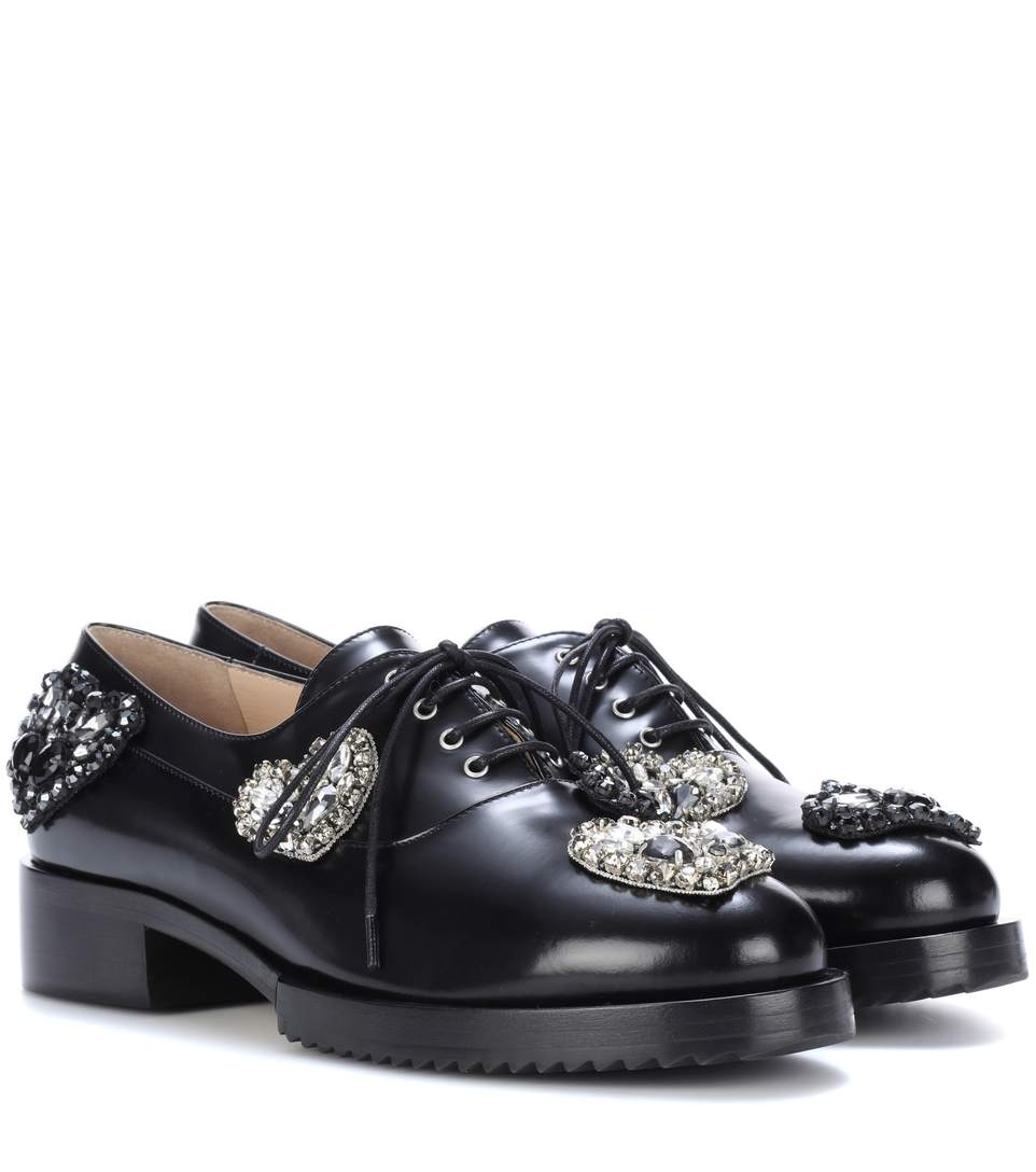 N°21 Lena Embellished Leather Oxford Shoes In Black
