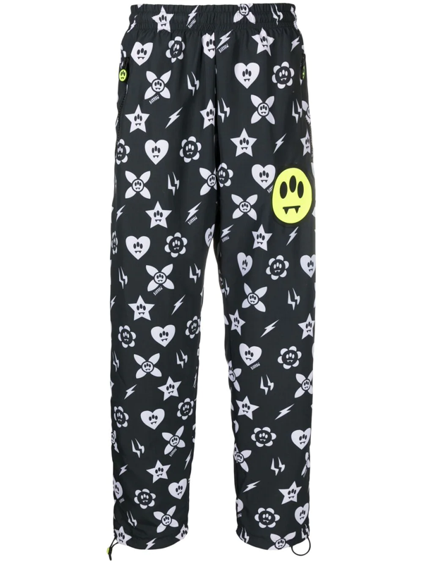 Barrow Nylon Trousers With All-over Graphic Print In Black