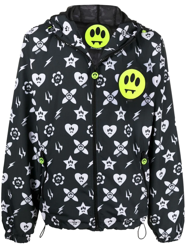 Barrow Nylon Jacket With All-over Graphic Print In Black