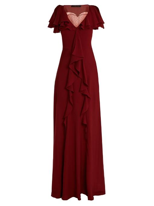Elie Saab Lace-Insert Ruffled Silk-Blend Gown