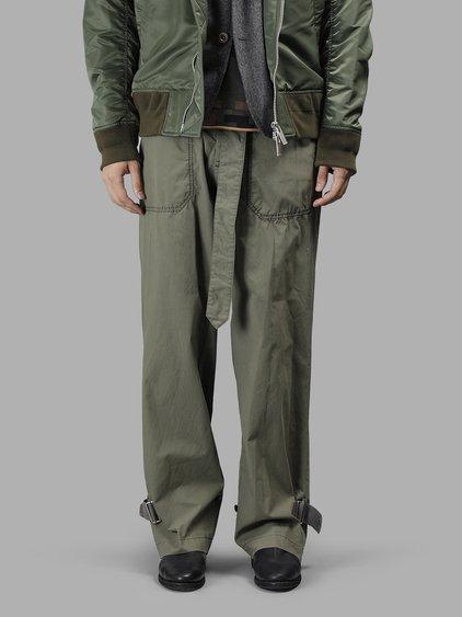 6d53d9aa2 Sacai Men's Green Washed Cotton Pants