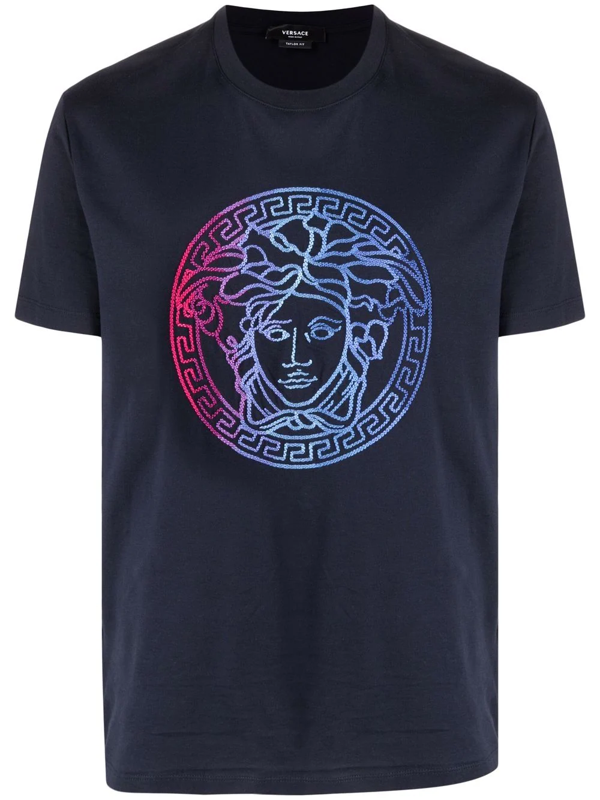 Versace Cotton T-shirt With Multicolor Medusa Embroidery In Black/ Blue/ Pink