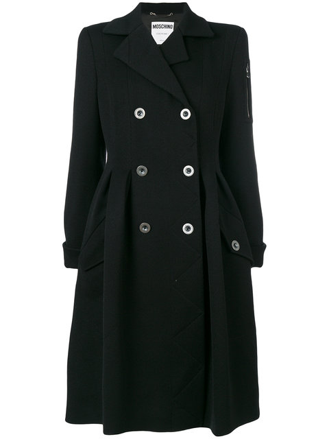 Moschino Double Breasted Frock Coat In Black