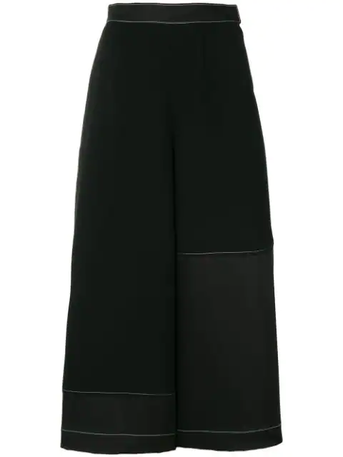 Loewe Contrast-Stitch Wide Cropped High-Rise Crepe Culottes In Black