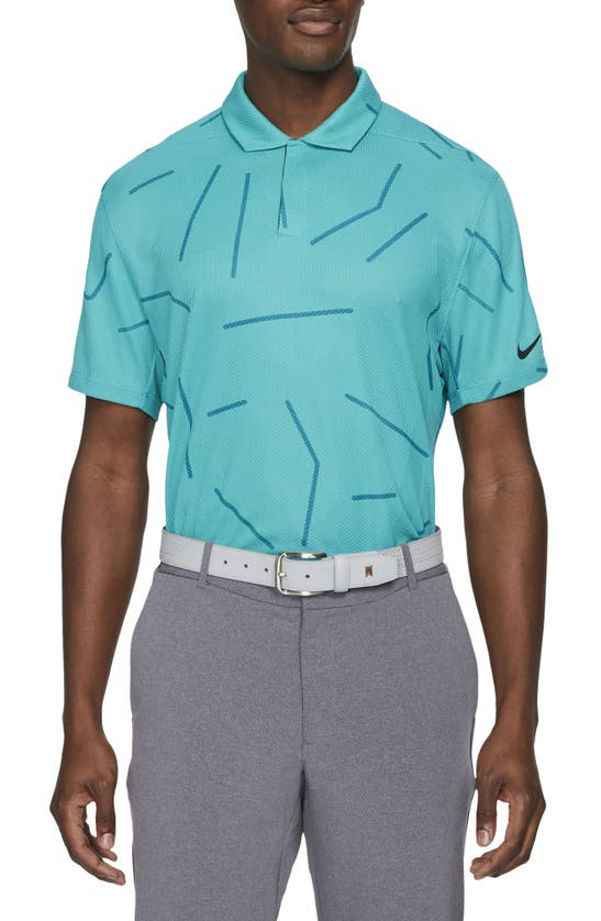 Nike Dri-fit Tiger Woods Men's Golf Polo In Aquamarine/black