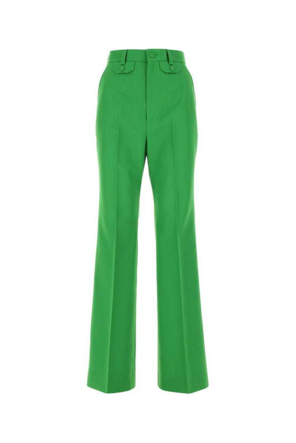 Gucci Twill Flare Pants In Green