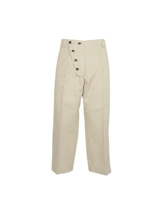Kenzo Asymmetric Fastening Pants In Beige