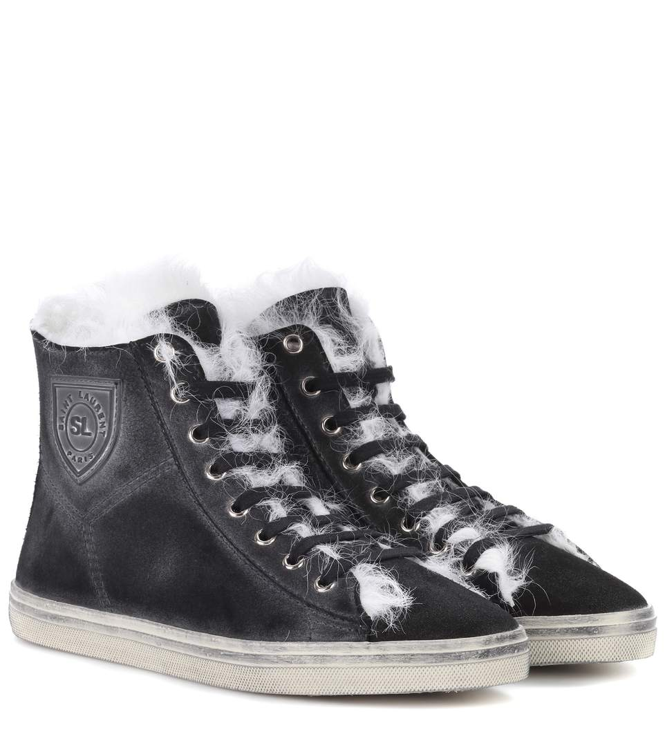 Saint Laurent Soho Suede High-Top Sneakers In Black