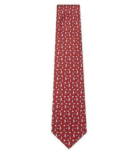 Red Silk Penguin Tie