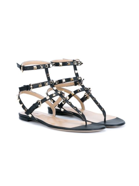 Valentino Rockstud Ankle-Wrap Flat Thong Sandals, Nero In Black