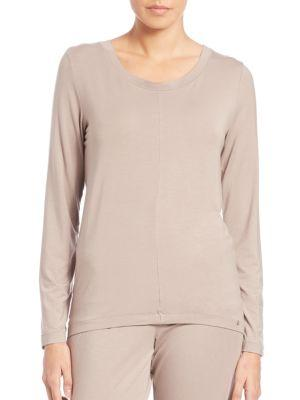Hanro Yoga Long-Sleeve Top In Taupe