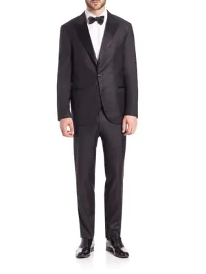 Brunello Cucinelli Wool Tuxedo Suit In Black