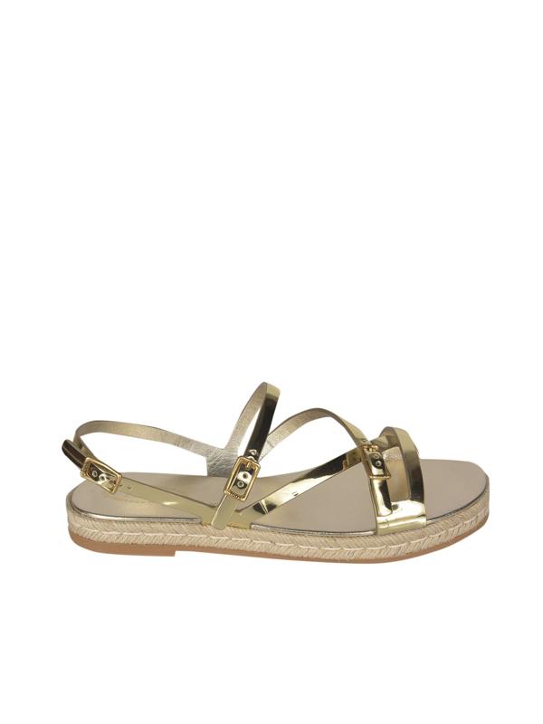 Tod's Raffia Insert Sandal In Gold Color