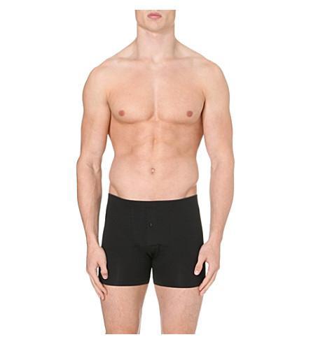 Hanro Superior Regular-Fit Stretch-Cotton Trunks In Black