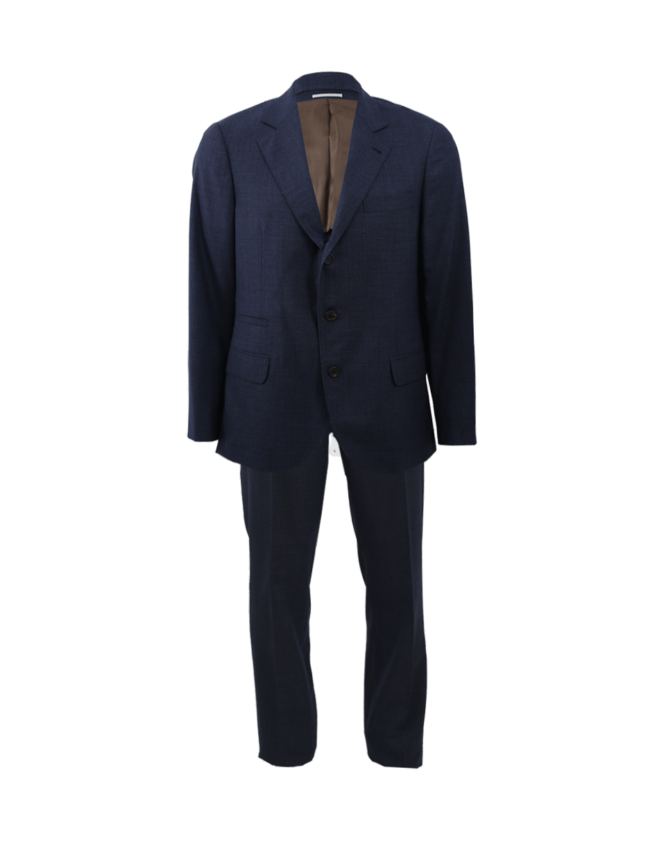 Brunello Cucinelli Wool Solid Notch Suit In Pacific