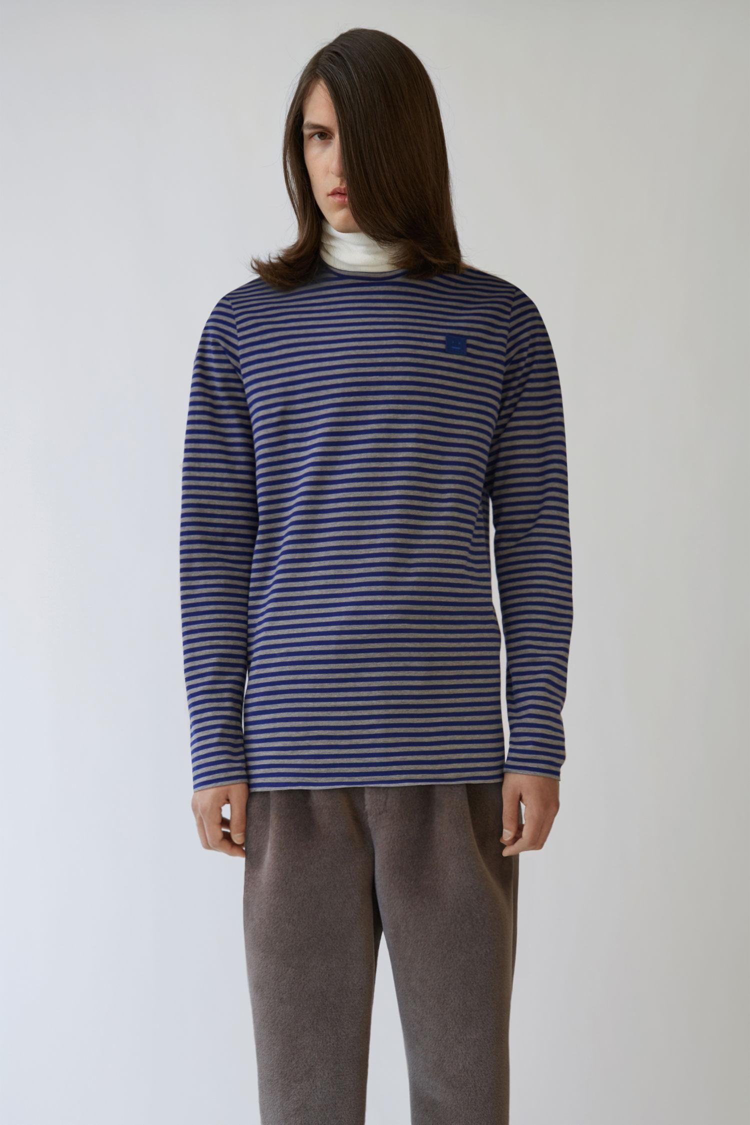 Acne Studios Slim Fit T-shirt Lt Grey Melange / Royal Blue