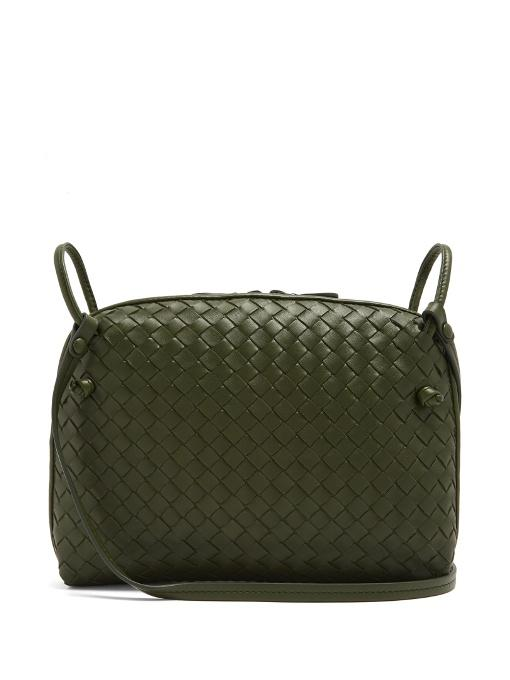 Bottega Veneta Nodini Small Intrecciato Leather Cross-Body Bag In Green 2585421392562