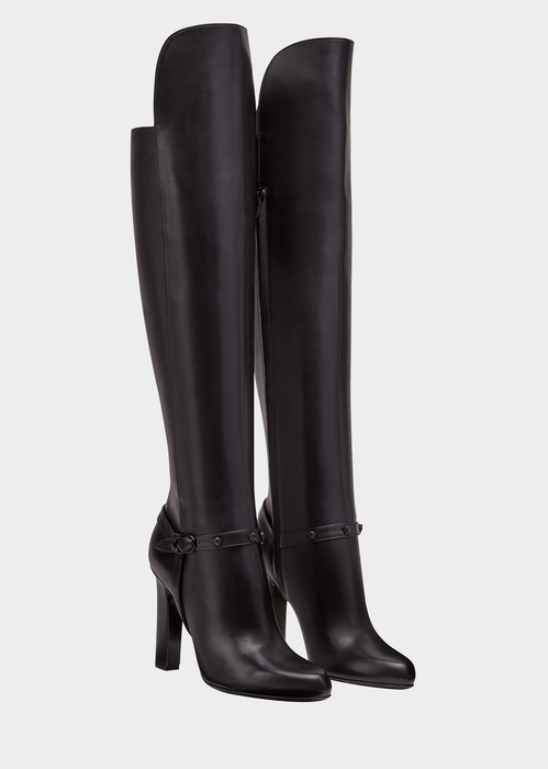 Versace Knee-high Signature Boots In Black