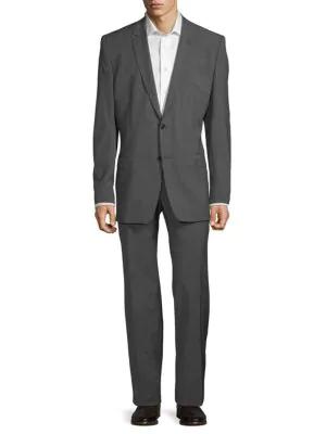 Versace Modern-Fit Classic Wool Suit In Black