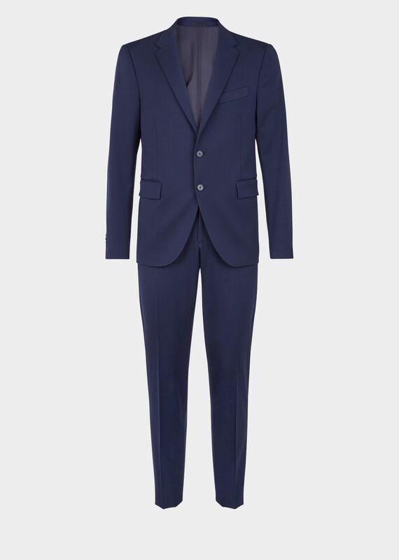 Versace Slim Fit Wool Suit In Blue