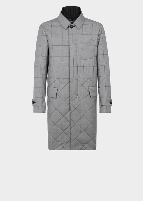 Versace Quilted Wool Coat In Gray