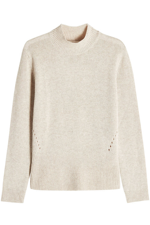 Wool And Cashmere Turtleneck Pullover In Beige