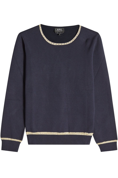 Pullover With Metallic Thread In Blue