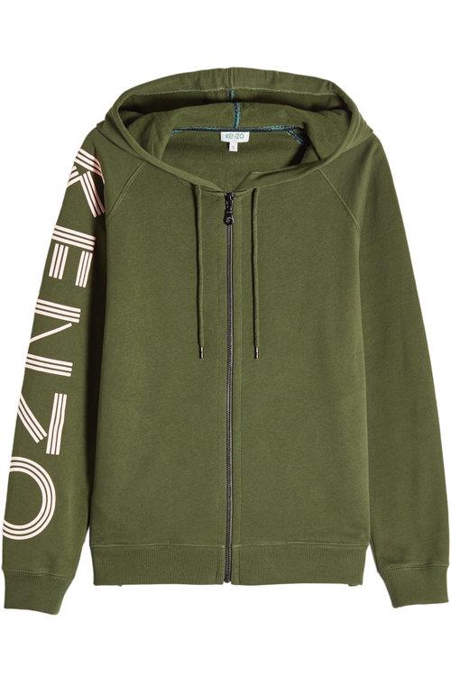 Kenzo Printed Cotton Zipped Hoody In Green