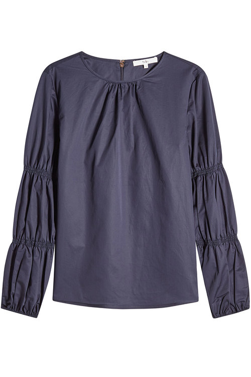 Tibi Cotton Blouse With Gathered Sleeves In Blue
