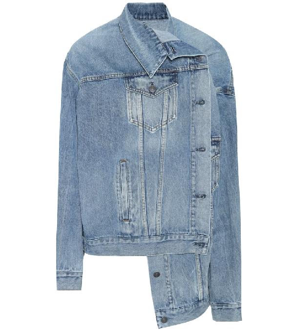 6101016bc24f Balenciaga Pulled Asymmetric Denim Jacket In Md. Blue