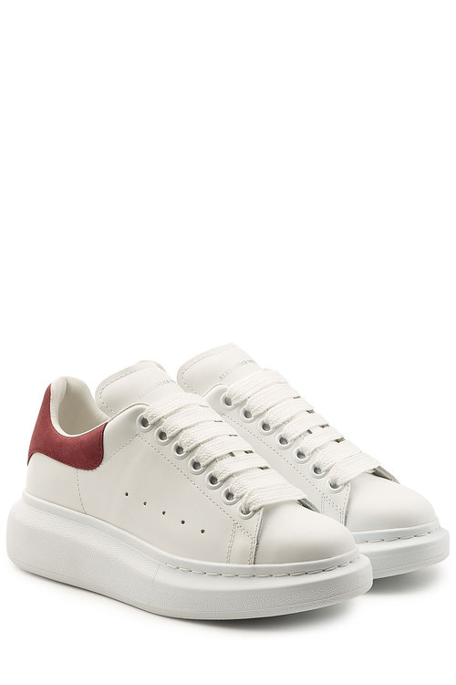 Alexander Mcqueen Leather Sneakers With Suede Detail In White