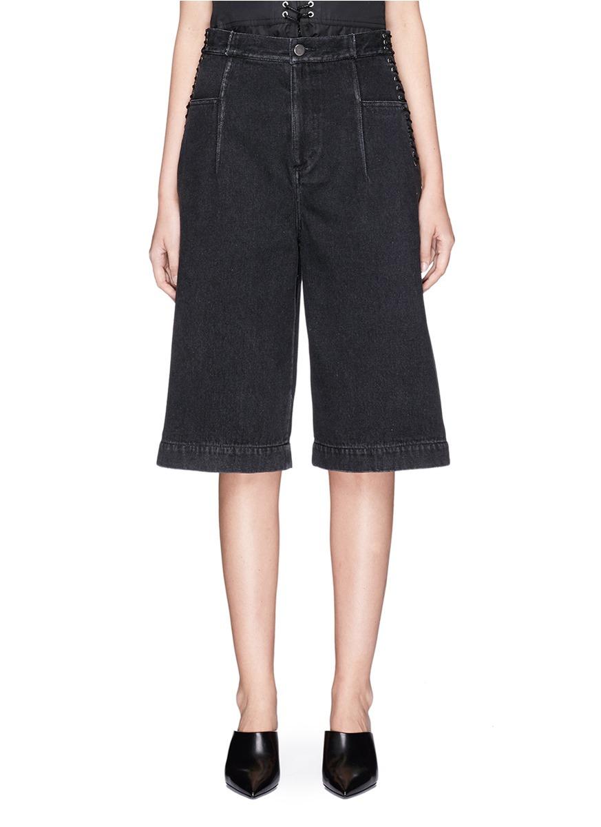 3.1 Phillip Lim Lace-up Corset Waist Denim Culottes Shorts