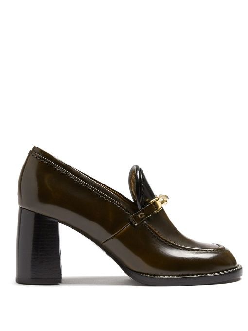 Joseph Block-heel Leather Loafers In Dark Brown
