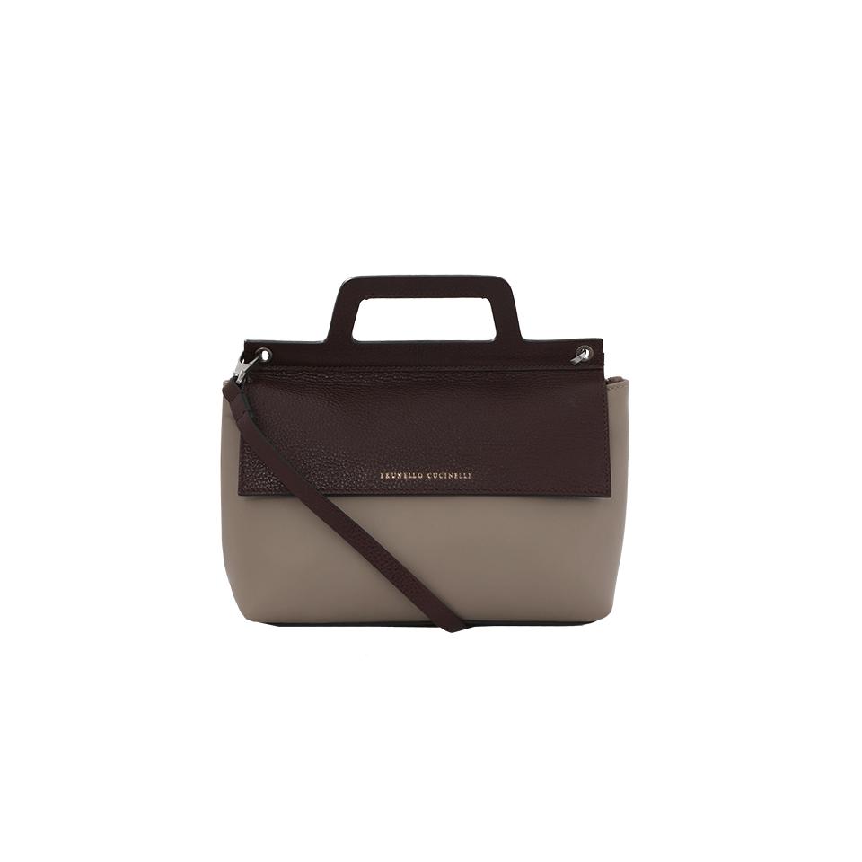 Brunello Cucinelli Leather Crossbody In Bark