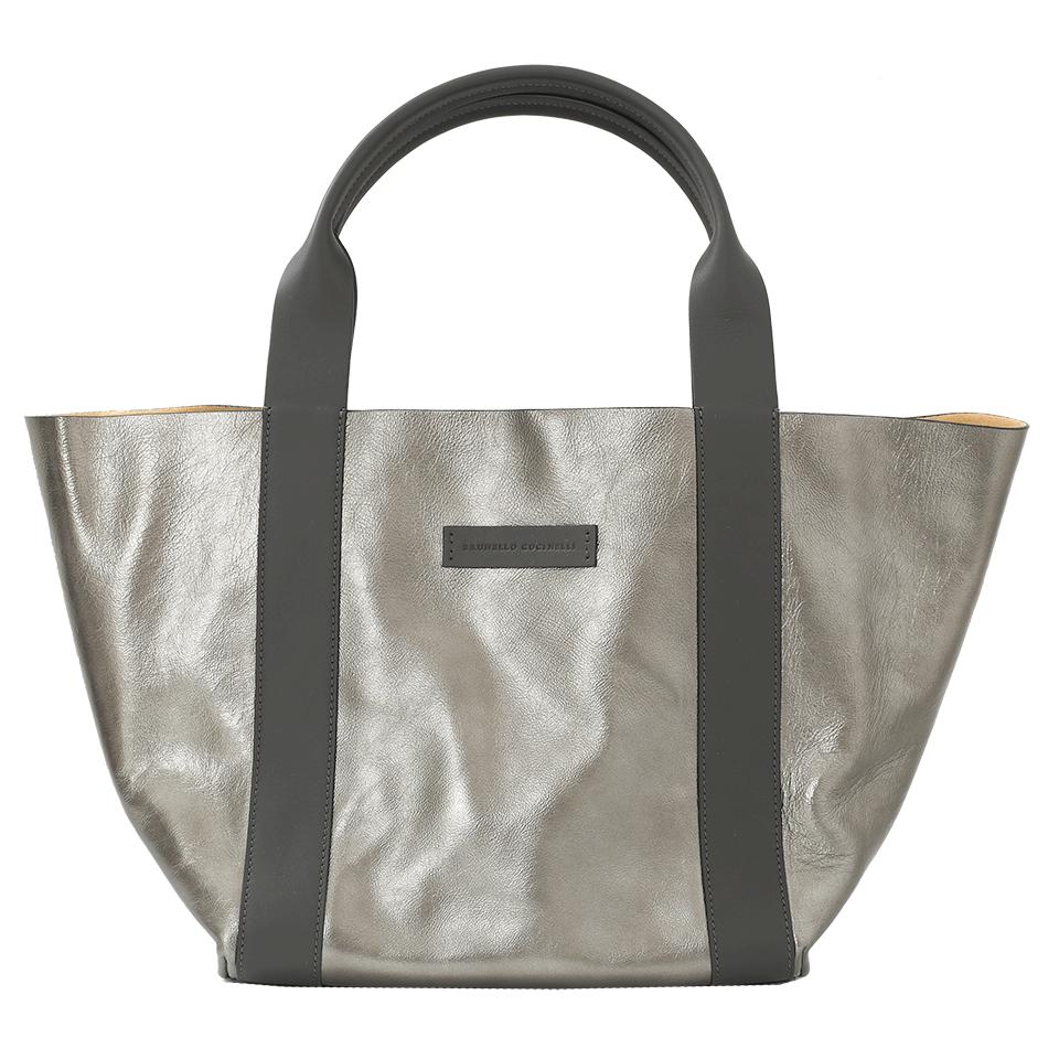 Brunello Cucinelli Reversible Metallic Tote Bag, Medium Green In Mltr-yll