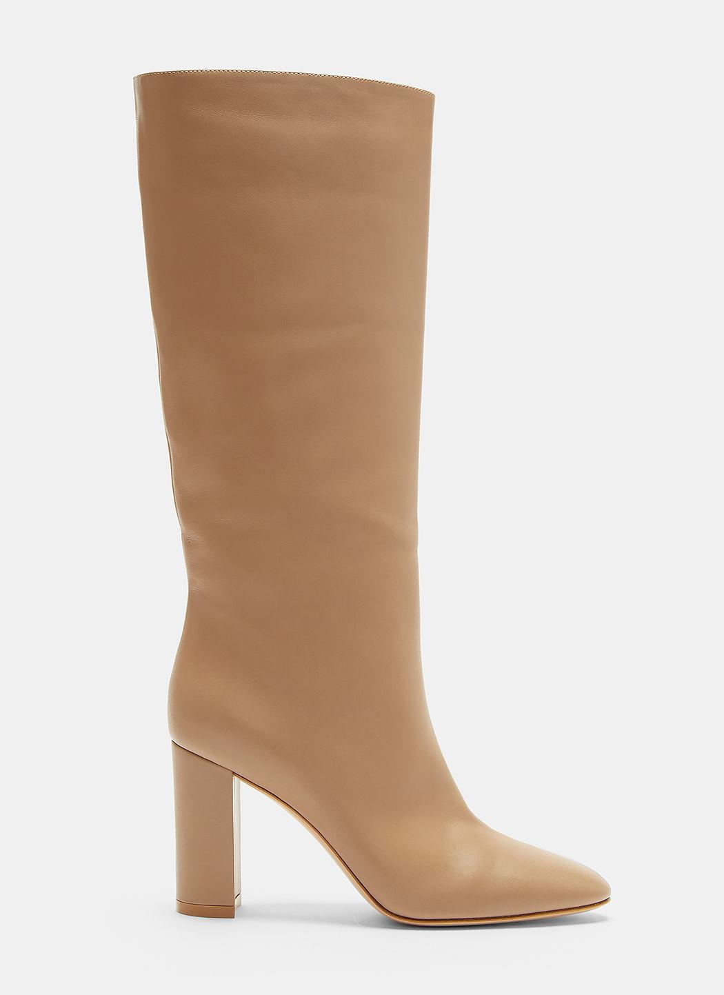 Gianvito Rossi Laura 85 Calf Length Boots In Beige