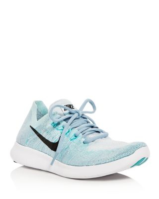 Nike Women's Free Run Flyknit 2017 Running Sneakers From Finish Line In Blue Tint/black/cirrus Bl