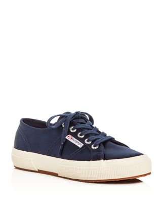Superga Classic Satin Lace Up Sneakers In Navy