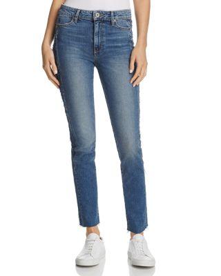 Paige Legacy - Julia Tuxedo Stripe Raw Straight Leg Jeans In Dawn Racer
