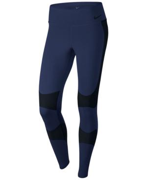 Nike Power Legend High-rise Performance Training Tights, Blue/black In Binary Blue/black
