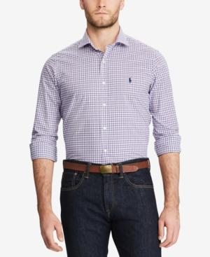 Polo Ralph Lauren Men's Big & Tall Classic-fit Plaid Shirt In Lavender/white Multi