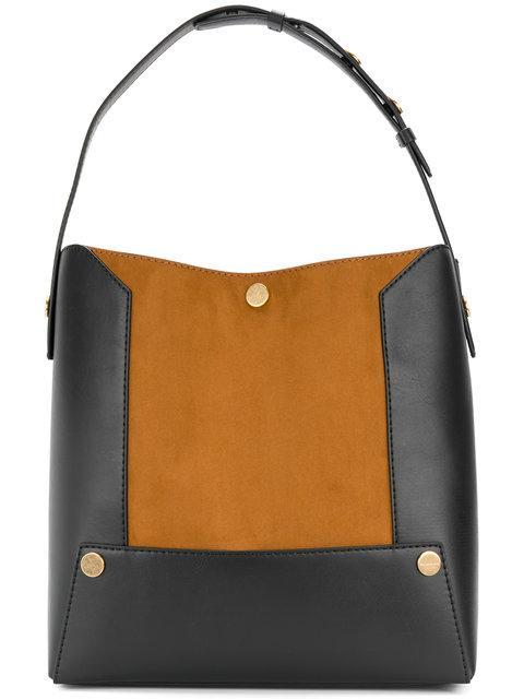 Stella Mccartney Stella Popper Faux-suede Shoulder Bag In Black Tan