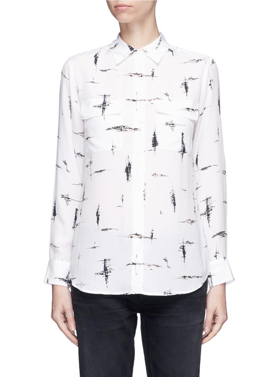 Equipment 'slim Signature' Scribble Print Silk Crepe Shirt