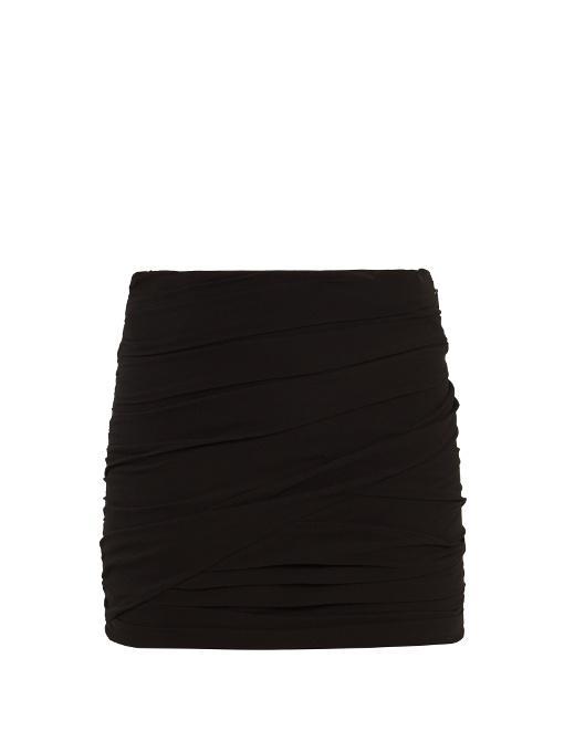 Saint Laurent Ruched Silk-georgette Mini Skirt In Black