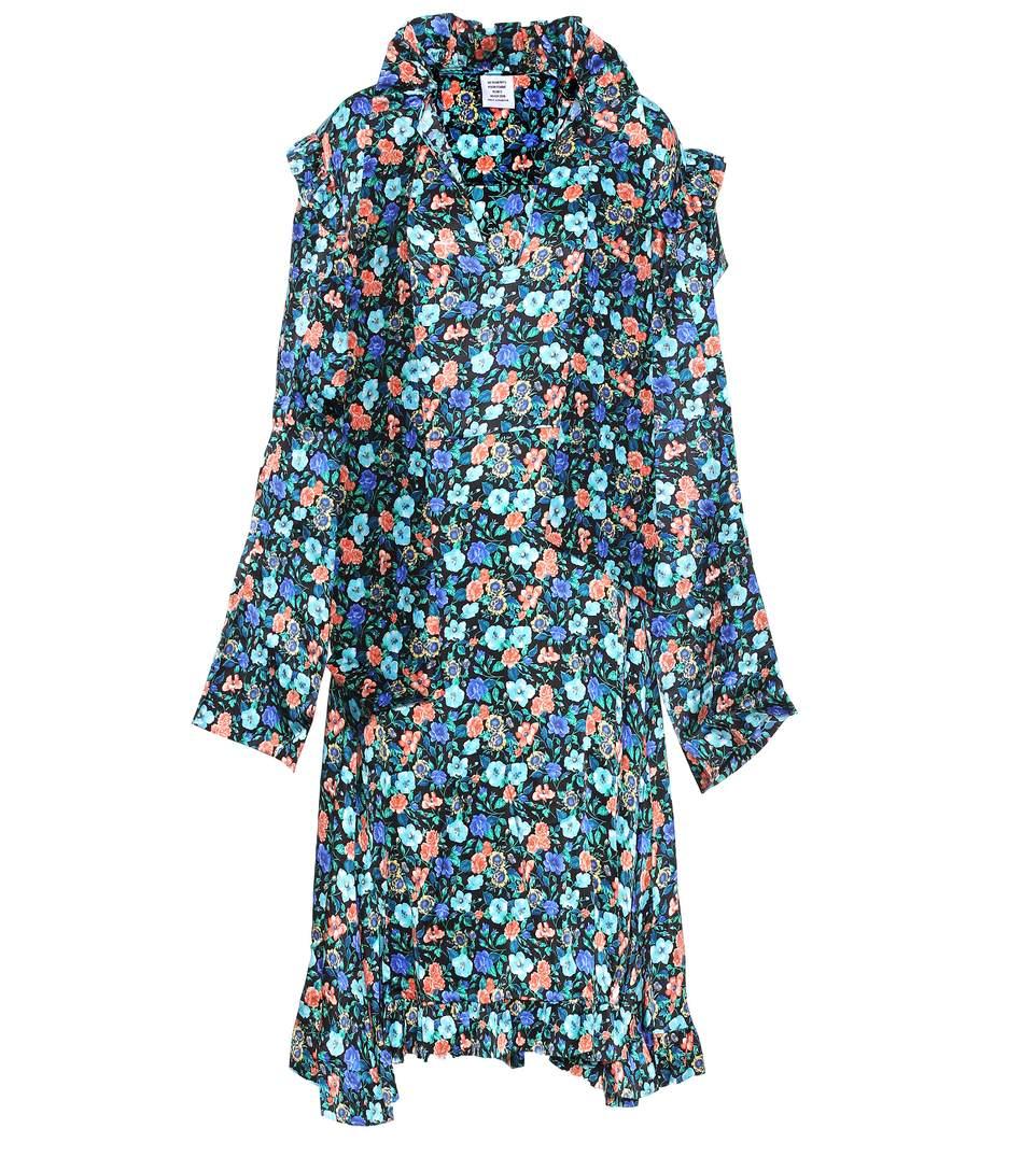Vetements Silk Biker Floral-print Midi Dress In Flower Priet