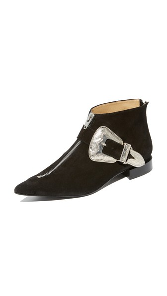 Toga Buckled Suede Ankle Boots In Black